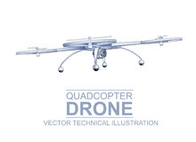Drone Technical Illustration Stock Photo