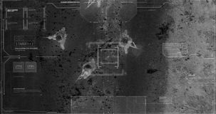 Drone with thermal night vision camera view of soldiers walking during war. Military drone night vision thermal view of soldiers walking through a forest stock footage