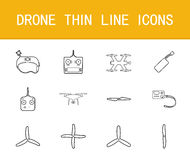 Drone thin line icons set. On white background Royalty Free Stock Image