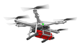 Drone with time bomb 3d rendering. Drone with time bomb  on white 3d rendering Royalty Free Stock Photos