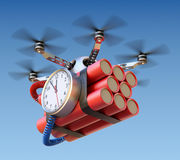 Drone with time bomb Stock Photos