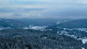 Aerial view of frozen forest and resort with some clouds on the sky. stock video footage