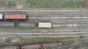 Drone top view of empty train tracks in industrial city part. stock video footage