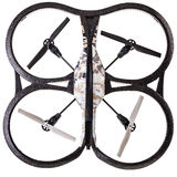 Drone top view. A quad copter spy drone isolated over a white background royalty free stock photography