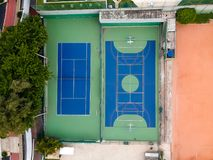 Drone top view of soccer field and basketball and volleyball cou. Rts. Rio de Janeiro, Brazil stock photo
