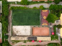 Drone top view of soccer field and basketball and volleyball cou. Rts. Rio de Janeiro, Brazil royalty free stock image