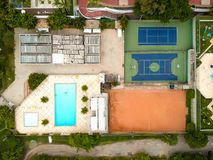 Drone top view of soccer field and basketball and volleyball cou. Rts, next to swimming pool. Rio de Janeiro, Brazil royalty free stock photo