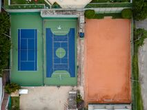 Drone top view of soccer field and basketball and volleyball cou. Rts. Rio de Janeiro, Brazil stock photography