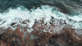 Aerial Top Drone View On Ocean Wave And Sand Beach Stock Footage