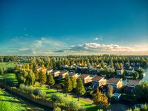 Drone top view of vinkeveen near Amsterdam during hot summer royalty free stock photography