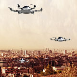 Drone on town Royalty Free Stock Images