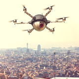 Drone on tows. Spy drone and urban background stock photography