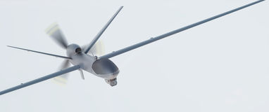 Drone UAV. In flight, front view royalty free stock photo