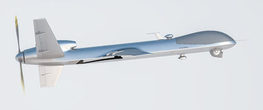 Drone UAV. In flight, side view stock illustration