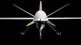Drone UAV. Military drone over black background stock illustration