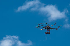 Drone, UAV , Multirotor Photography Helicopter. Flying drone with a camera Royalty Free Stock Photography