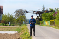 Drone, Unmanned copter flight, pilot flying drone royalty free stock images