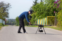 Drone, Unmanned copter flight, pilot flying drone stock images