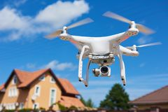 Drone usage. private property protection or real estate check Stock Image