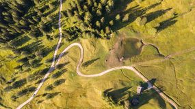 A drone vertical perspective of the meadows at high altitudes, forming soft hills. Dolomites, Alta Badia, Sud Tirol, Italy. Summer time stock photo