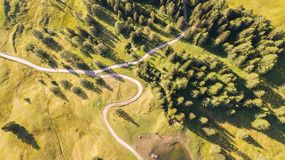 A drone vertical perspective of the meadows at high altitudes, forming soft hills. Dolomites, Alta Badia, Sud Tirol, Italy. Summer time royalty free stock photos
