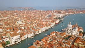 Aerial view of Venice Italy. Drone video - Aerial view of Venice Italy. St Mark`s square and Santa Maria della Salute church. Scenic video taken at sammer day stock video footage