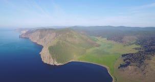 Majestic view of a Baikal lake shore stock video