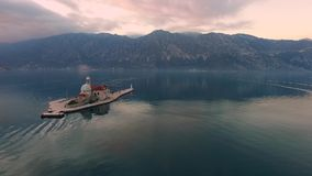 Drone video - The Bay of Kotor after sunset, Perast stock footage