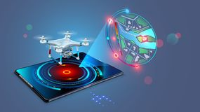 Drone with video camera flys on assigned route and transmit streaming fpv video on screen tablet. Navigation digital map. Of autonomous or wireless remoted Royalty Free Stock Image