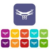 Drone video camera icons set. Vector illustration in flat style in colors red, blue, green, and other Stock Photography