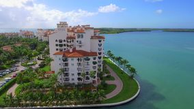 Drone video Fisher Island Miami BEach stock footage