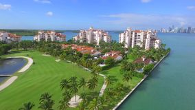 Drone video Fisher Island Miami BEach stock video footage