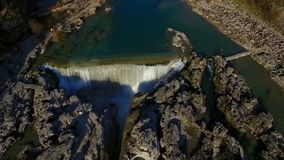 Drone video - Flight over the waterfall stock footage