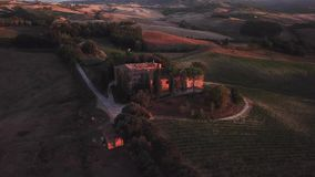 Drone video - flying over an italian vineyard. Tuscany Italy stock video footage