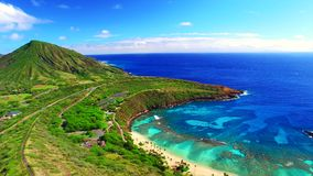Oahu, Hawaii, USA. Drone video of the gorgeous Hanauma Bay in Oahu Island, Hawaii