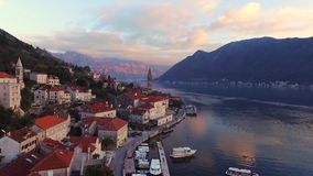 Drone video - Perast, Old town on the Bay of Kotor in Montenegro stock footage