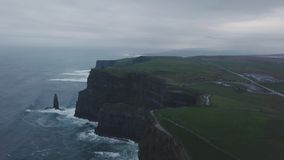 Drone video taking of amazing view a big rocks cliffs of moher in Ireland. stock footage