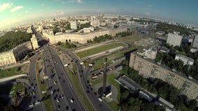 Drone video Yuri Gagarin monument stock video