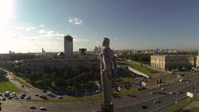Drone video Yuri Gagarin monument stock video footage