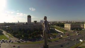 Drone video Yuri Gagarin monument stock video footage