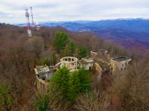 Drone view of abandoned restaurant on Mount Akhun, Sochi, Russia Stock Image