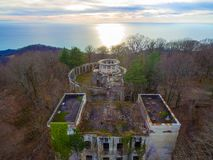 Drone view of abandoned restaurant on Mount Akhun, Sochi, Russia Royalty Free Stock Photo