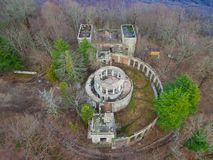 Drone view of abandoned restaurant on Mount Akhun, Sochi, Russia Royalty Free Stock Images