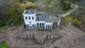 Drone view of abandoned building, Sochi, Russia Royalty Free Stock Images