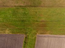 Drone view of agricultural land from top royalty free stock image