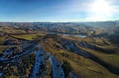 Drone view of autumn landscape stock photos