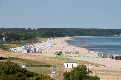Drone view of beach on Baltic Sea in Germany stock images