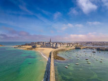 Drone view of the beautiful city of Privateers on sunset- Saint Malo in Brittany, France Stock Photo