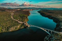 Aerial view of a bridge leading to an old historic town of Sibenik, Croatia royalty free stock photography