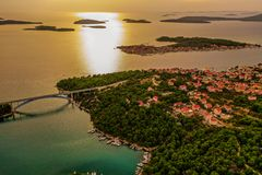 Drone view of the  Brodarica bridge and beautiful island Krapanj royalty free stock photos